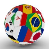 A soccer ball with the color of the flags of the countries participating in the World Cup on football, in the middle of Iran, Braz. Soccer ball with the color of Stock Photos