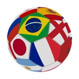 Soccer ball with the color of the flags of the countries participating in the world on football, in the middle Brazil, England, Fr. Ance and Japan, 3D rendering Royalty Free Stock Photography
