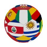 Soccer ball with the color of the flags of the countries participating in the world on football, in the middle Costa Rica, Nigeria. And Argentina, 3D rendering Royalty Free Stock Photo