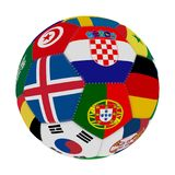 Soccer ball with the color of the flags of the countries participating in the world on football, in the middle Iceland, Croatia an. D Portugal, 3D rendering Royalty Free Stock Images