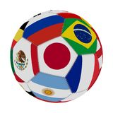 Soccer ball with the color of the flags of the countries participating in the world on football, in the middle Japan, Mexico, Russ. Ia, Brazil, France and Royalty Free Stock Images