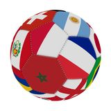 Soccer ball with the color of the flags of the countries participating in the world on football, in the middle Poland, Morocco and. France, 3D rendering Stock Photos