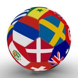 A soccer ball with the color of the flags of the countries participating in the World Cup on football, in the middle of Russia, Sw. Soccer ball with the color of Stock Images