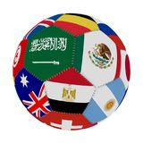 Soccer ball with the color of the flags of the countries participating in the world on football, in the middle Saudi Arabia, Mexic. O and Egypt, 3D rendering Stock Image
