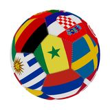 Soccer ball with the color of the flags of the countries participating in the world on football, in the middle Senegal and Russia,. 3D rendering Stock Image