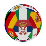 Soccer ball with the color of the flags of the countries participating in the world on football, in the middle Serbia, Nigeria, 3D. Soccer ball with the color of Stock Photos
