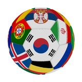 Soccer ball with the color of the flags of the countries participating in the world on football, in the middle South Korea, 3D ren. Dering Stock Photo