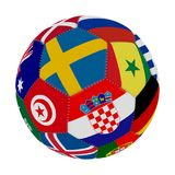 Soccer ball with the color of the flags of the countries participating in the world on football, in the middle Sweden, Senegal, Cr. Oatia and Tunisia, 3D Stock Photos