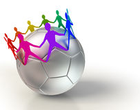 Soccer ball with colorful people team chain Stock Photography