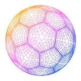 Soccer ball colorful wireframe grid vector illustration Royalty Free Stock Photo