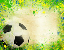 Soccer ball and the colors of Brazil flag Stock Photography