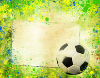 Soccer ball and the colors of Brazil flag Royalty Free Stock Photo