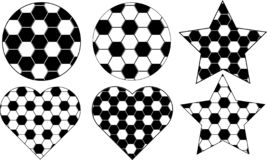 Soccer ball with 6 different design vector illustration