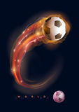 Soccer ball comet. Soccer ball in flames and lights against black background. Vector illustration Royalty Free Stock Image