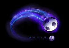 Soccer ball comet. Soccer ball in flames and lights against black background. Vector illustration Royalty Free Stock Images