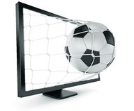 Soccer ball coming out of monitor Stock Images