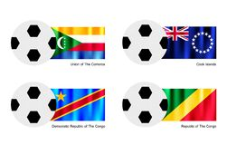 Soccer Ball with Comoros, Cook Islands and Congo F Stock Photos