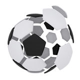 Soccer ball consisting of unconnected parts. Isolated render on a white background Stock Image