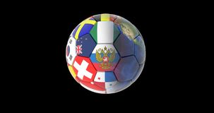 Soccer ball and continents of the planet earth rotating on a black background. maps and textures provided by NASA.  Stock Illustration