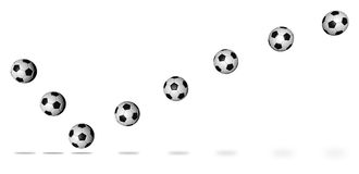Soccer ball continuous shot. Soccer football move in the continuous shot. Easy selection with clipping path Stock Photos
