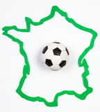 Soccer ball on contour France Stock Images
