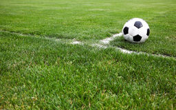 Soccer Ball On Corner. Photo Of A Soccer Ball On Corner Royalty Free Stock Photography