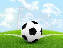 Soccer ball in the corner of field Royalty Free Stock Photos