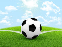 Soccer ball in the corner of field Royalty Free Stock Image