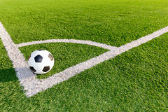 Soccer ball in the corner Stock Photography