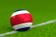 Soccer Ball With Costa Rican Flag 3D Render Stock Photos