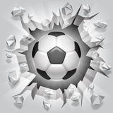 Soccer ball and cracked wall. Royalty Free Stock Image