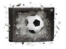 Soccer ball crashed television. Isolated on white background stock images