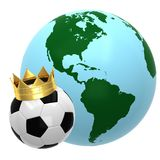 Soccer ball with crown. And globe Royalty Free Stock Photo