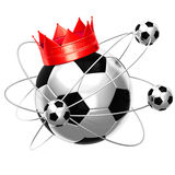 Soccer ball with crown. Isolated on white background Royalty Free Stock Photo