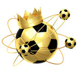 Soccer ball with crown. Isolated on white background Royalty Free Stock Photography