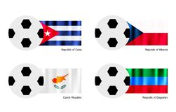 Soccer Ball with Cuba, Albania, Czech and Dagestan Royalty Free Stock Photos