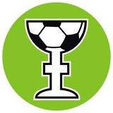Soccer ball at cup, vector icon Stock Photography