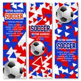 Soccer ball 3d banner of football sport game club Royalty Free Stock Images