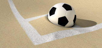Soccer Ball On A Desert Sand Pitch Royalty Free Stock Photos