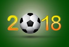Soccer ball in 2018 digit on green background. Useful for calendar or general needs for sport and hobby banners. Vector illustration Stock Photography
