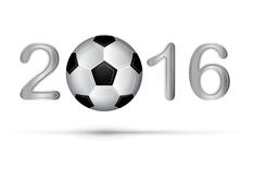 Soccer ball in 2016 digit on white Royalty Free Stock Photos