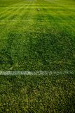 Soccer Ball In A Distance. Photo Of A Fresh Green Grassy Soccer Field Zone Stock Image