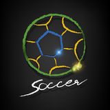 Soccer ball drawing on a blackboard. Soccer ball chalk drawing with copy on a blackboard Royalty Free Stock Photo