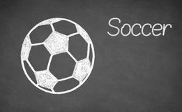 Soccer ball drawn on chalkboard. Stock Photography