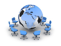 Soccer ball, earth globe and office chai Stock Images