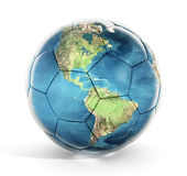 Soccer ball with earth map texture. Isolated on white background stock image