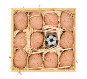 Soccer ball and eggs in a wooden box Royalty Free Stock Image