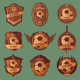 Soccer ball emblems. Collection set on green background Royalty Free Stock Images