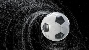 Soccer ball emitting whirl of water drops, with rgb mask, 4k 3d animation vector illustration