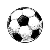 Soccer ball. Engraving vintage vector black illustration. Royalty Free Stock Images